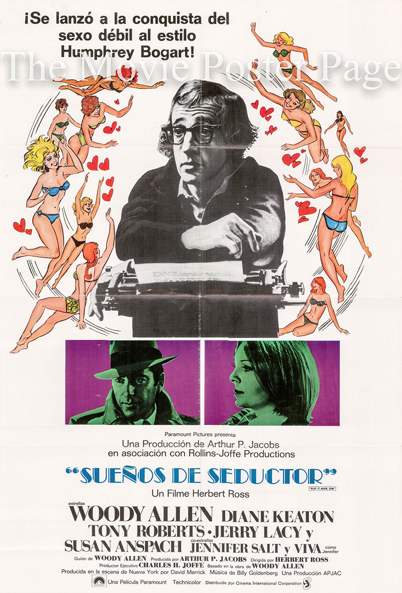Pictured is the Spanish one-sheet promotional poster for the 1972 Woody Allen film Play it Again Sam, starring Woody Allen and Diane Keaton.