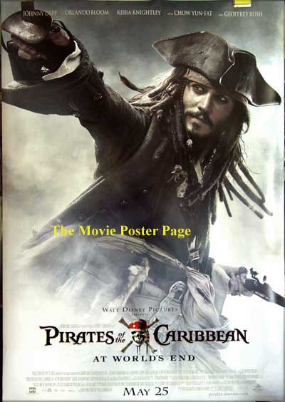 This image shows the 4x5 foot bus stop poster for the 2007 Disney film Pirates of the Caribbean 3, starrang Johnny Depp.