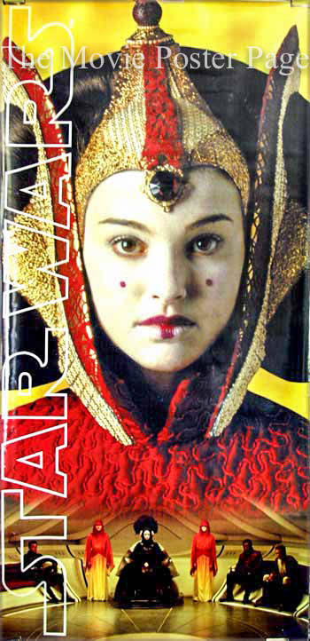 Pictured is a vinyl banner with image of the Natalie Portman character Queen Amidalla from the 1999 George Lucas film Star Wars Episode I the Phantom Menace, starring Liam Neeson and Ewan McGregor.