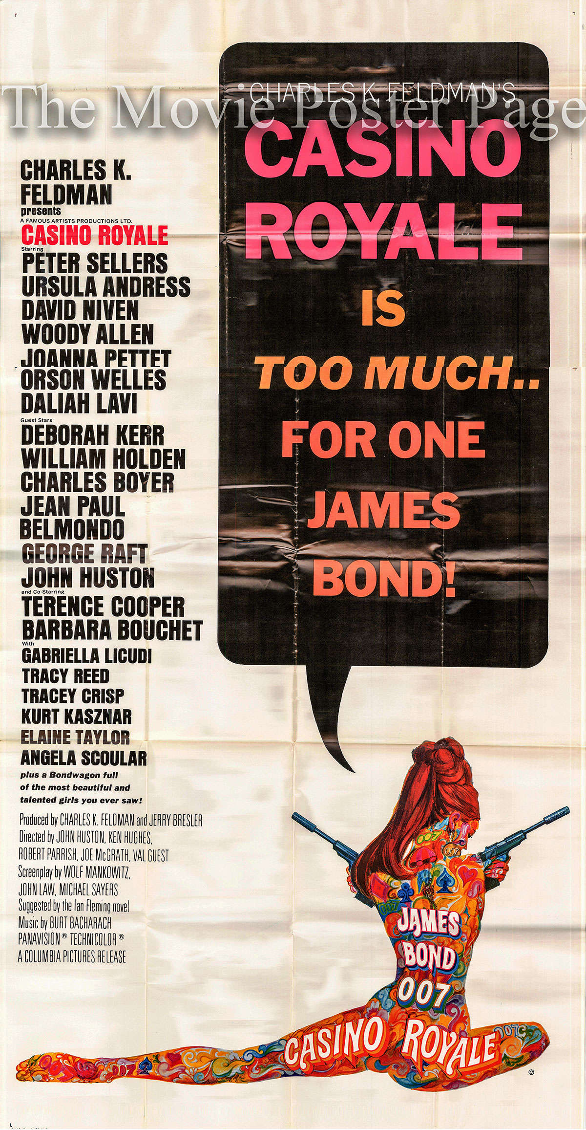 This is an image of a US 3-sheet promotional poster for the 1967 Ken Hughes and John Huston Film Casino Royale, starring Woody Allen and Peter Sellers.