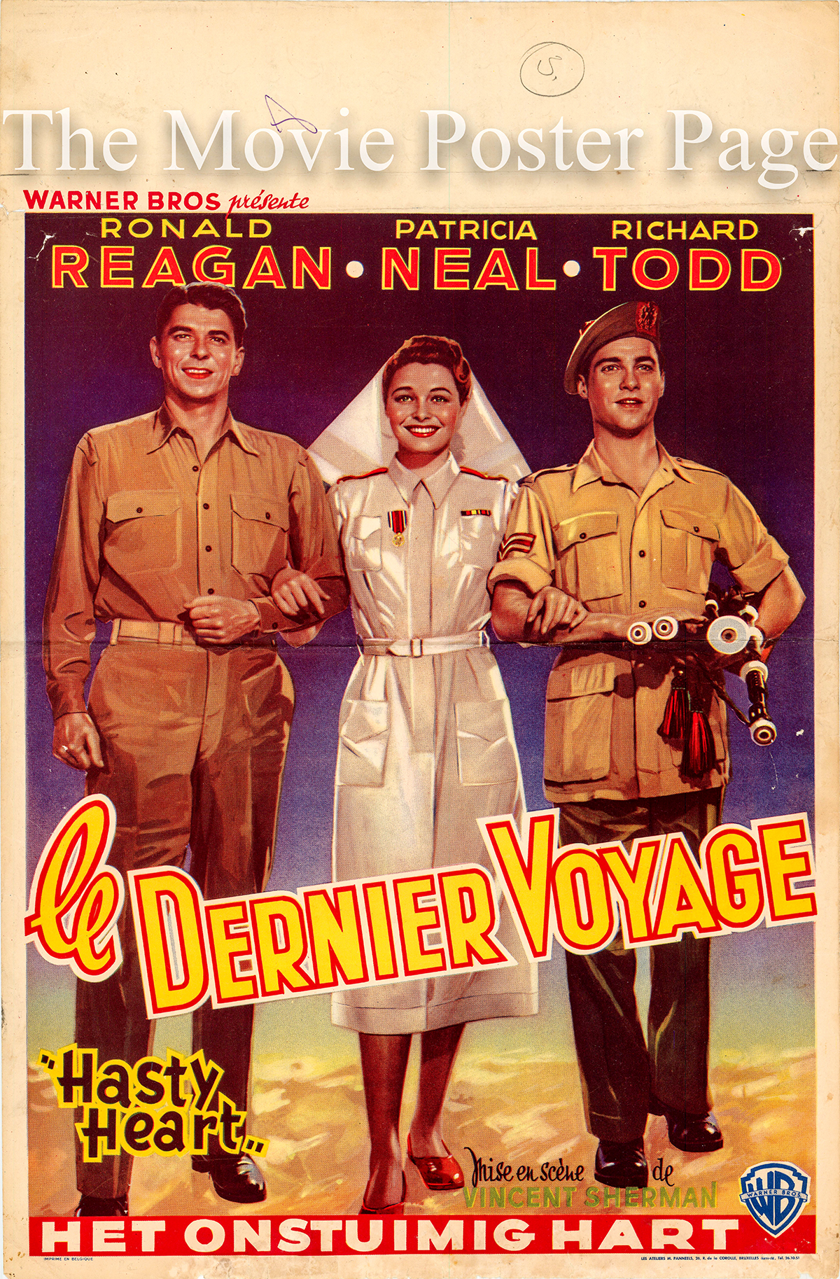 The image shows the Belgian promotional poster for the 1948 Vincent Sherman film The Hasty Heart starring Ronald Reagan, with Patricia Neal in her debut film performance.