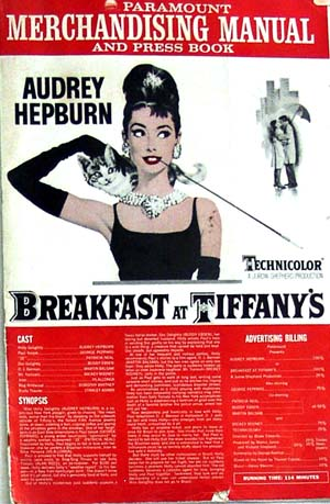 Pictured is the official merchandising manual and press book for the 1961 Blake Edwards film Breakfast at Tiffany's, starring Audrey Hepburn