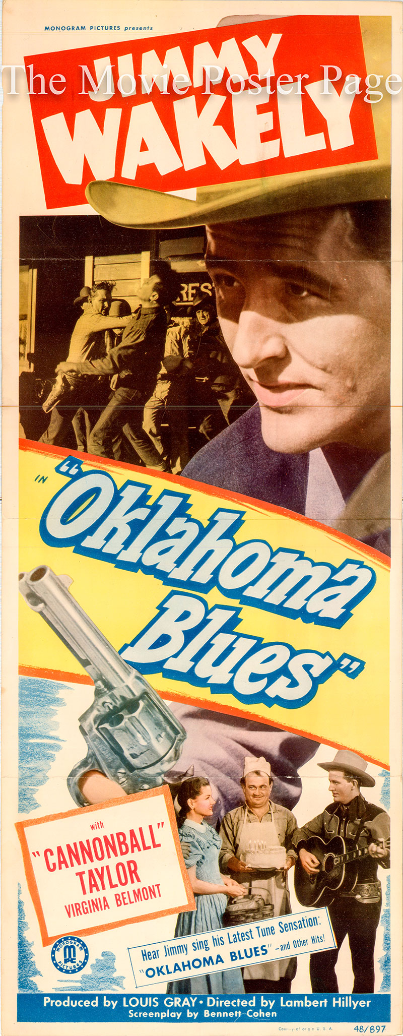This is an image of the US insert promotional poster for the 1948 Lambert Hilyer film Oklahoma Blues, starring Jimmy Wakely