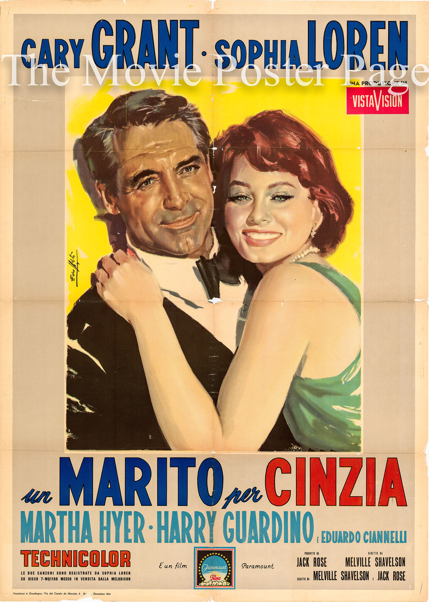 Pictured is the Italian two-sheet promotional poster for the 1958 Melville Shavelson film Houseboat, starring Cary Grant and Sophia Loren.