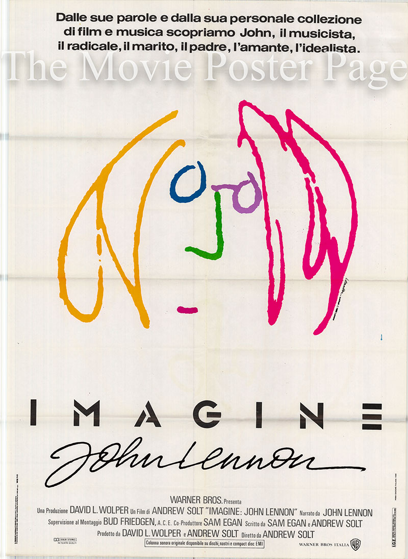 This is a picture of the Italian two-sheet promotional poster for a 1988 rerelease of the 1972 Steve Gebhardt and John Lennon film Imagine.