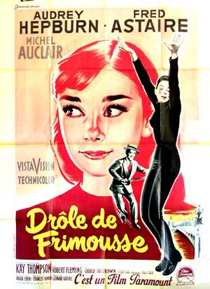 This image shows the French 47x63 promotional poster for the 1957 Stanley Donen film Funny Face, starring Fred Astaire and Audrey Hepburn.
