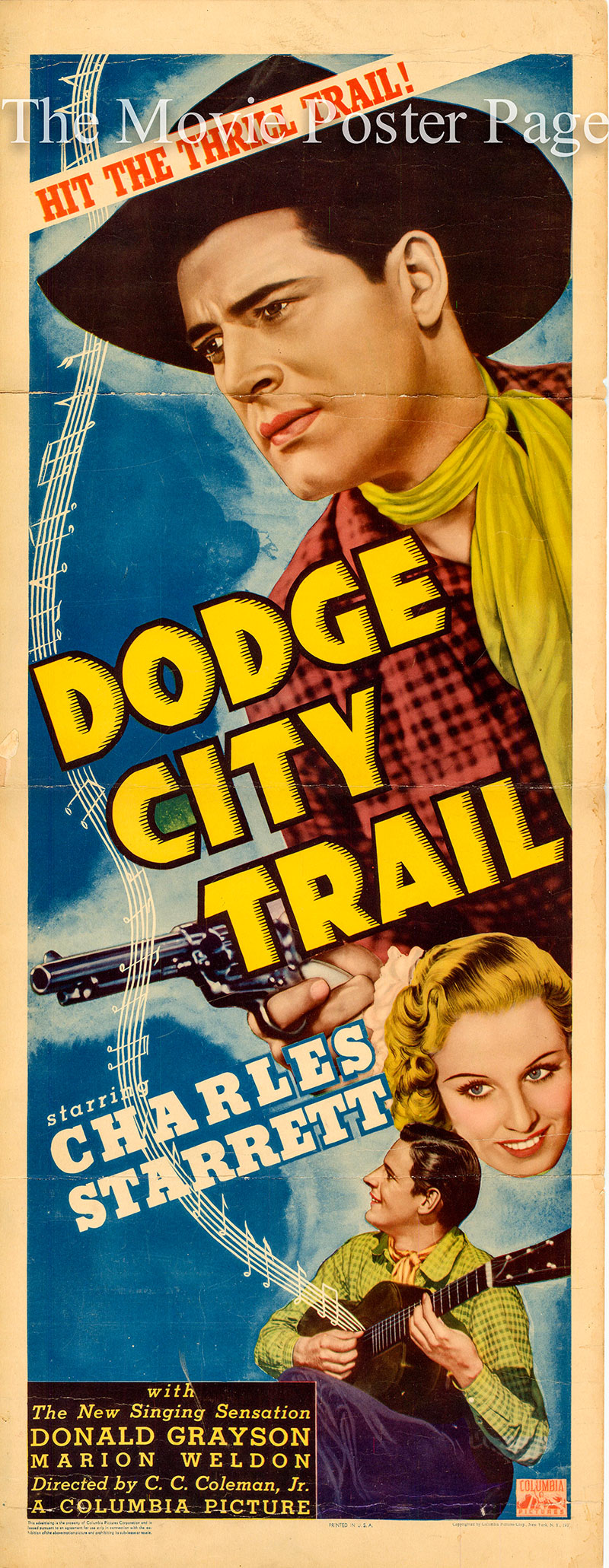 The image shows the  US promotional insert poster for the 1936 Charles C. Coleman film Dodge City Trail, starring Charles Starrett.