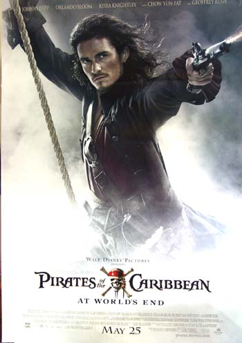 Pictured is the US Orlando Bloom bus stop character advance poster for the 2007 Gore Verbinski film Pirates of the Caribbean: At Worlds End, starring Johnny Depp.