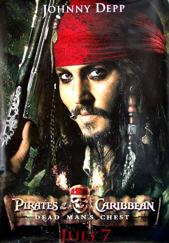 Pictured is the Captain Jack character advance bus stop poster for the 2006 Gore Verbinski film Pirates of the Caribbean: Dead Mans Chest, starring Johnny Depp.