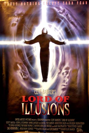 The image is of the US one-sheet promotional poster for the 1995 Clive Barker film Lord of Illusions