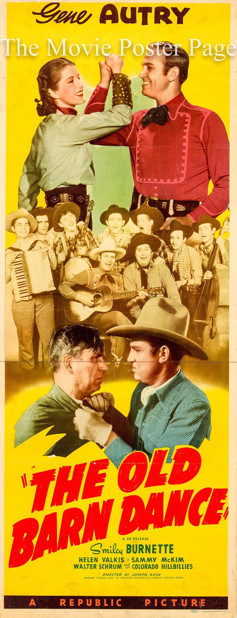 This is a picture of the US insert promotional poster for the 1944 rerelease of the 1938 Joseph Kane film The Old Barn Dance, starring Gene Autry and featuring the Stafford Sisters and Walt Shrum and His Colorado Hillbillies.