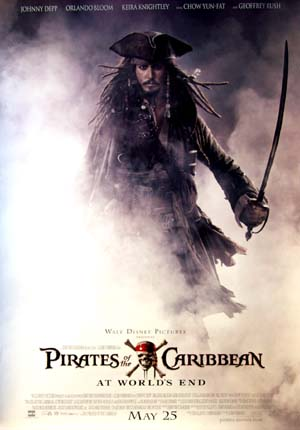 This image show US style B Captain Jack advance poster for the 2007 Disney film Pirates of the Caribbean 3, starrang Johnny Depp.
