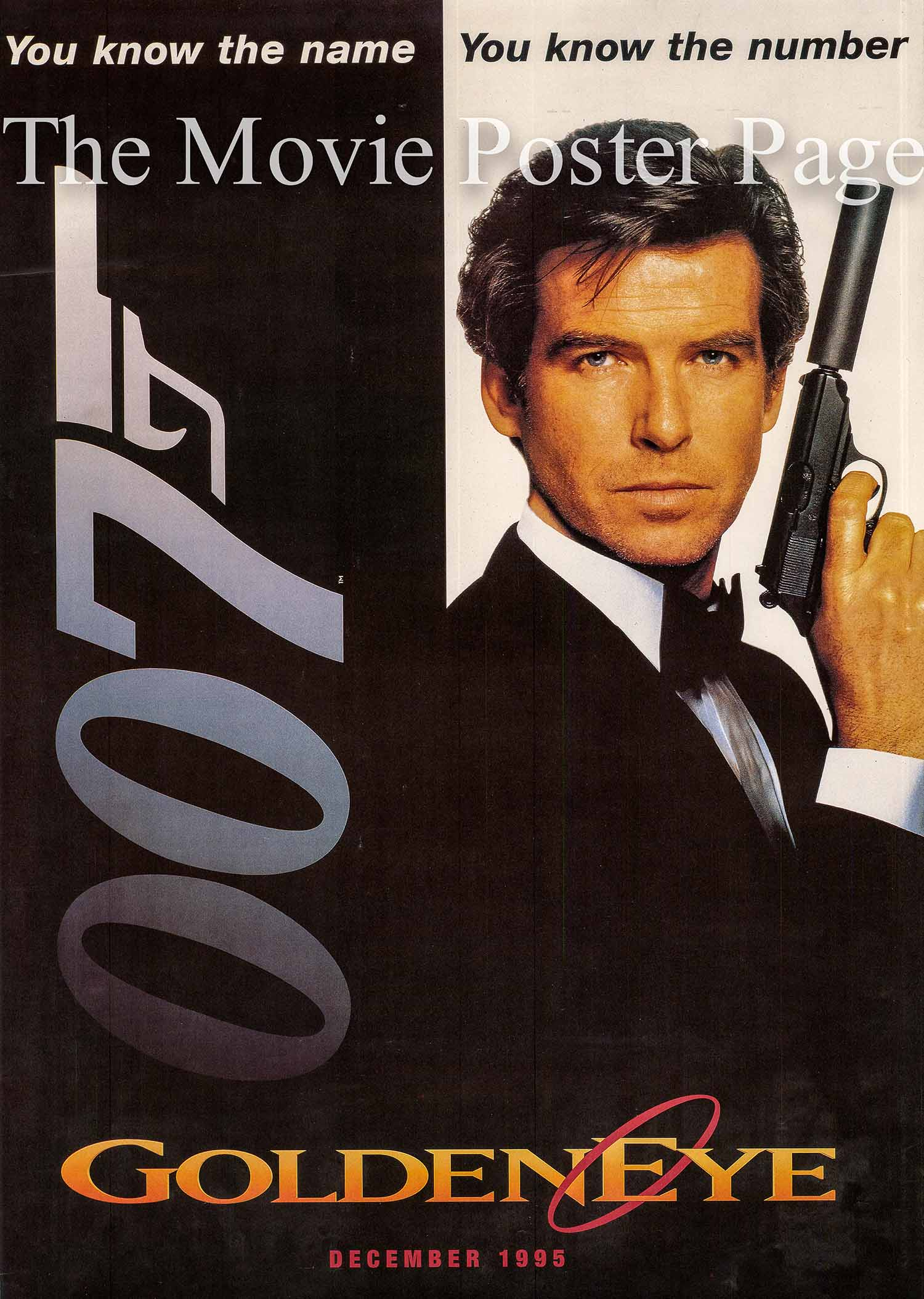 This picture shows the internationa advance one-sheet promotional poster for the 1995 Martin Campbell film GoldenEye, starring Pierce Brosnan.