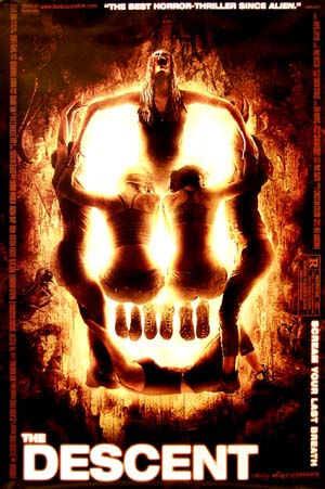 This is a picture of the US one-sheet promotional poster for the 2005 Neil Marshall Film The Descent, starring Shauna Macdonalt.