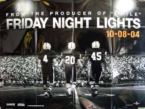 The image shows a folded 4 by 5 foot promotional theater banner for the 2004 Peter Berg film Friday Night Lights starring Billy Bob Thornton.