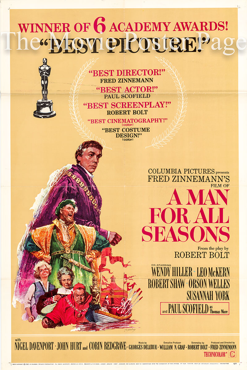 Pictured is a US Academy Awards one-sheet poster for the 1966 Fred Zinneman film A Man for all Seasons starring Paul Scofield as Thomas More.