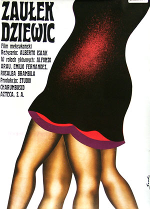 Pictured is the 1977 Polish poster for the 1972 Alberto Isaac Mexican film Nest of Virgins, starring Emilio Fernandez.