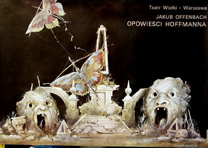 The image shows a 1975 promotional poster for a Warsaw production at the Wielki Theater of the Offenbach opera Tales of Hoffman.