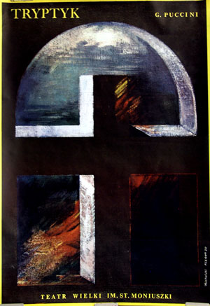 This is a picture of the Polish promotional poster for a 1980 performance of the Puccini opera Tryptyk.