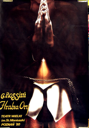 This image shows the Polich promotional poster for a 1980 performance in Poznan of the Rossini opera County Ory.