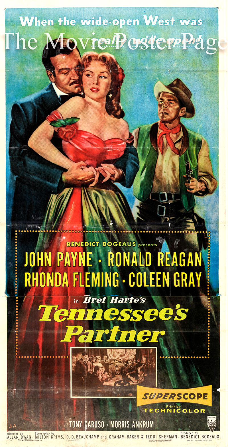 Pictured is the US three-sheet promotional poster for the 1955 Allan Dwan film Tennesses Partner starring Rhonda Fleming and Ronald Reagan.