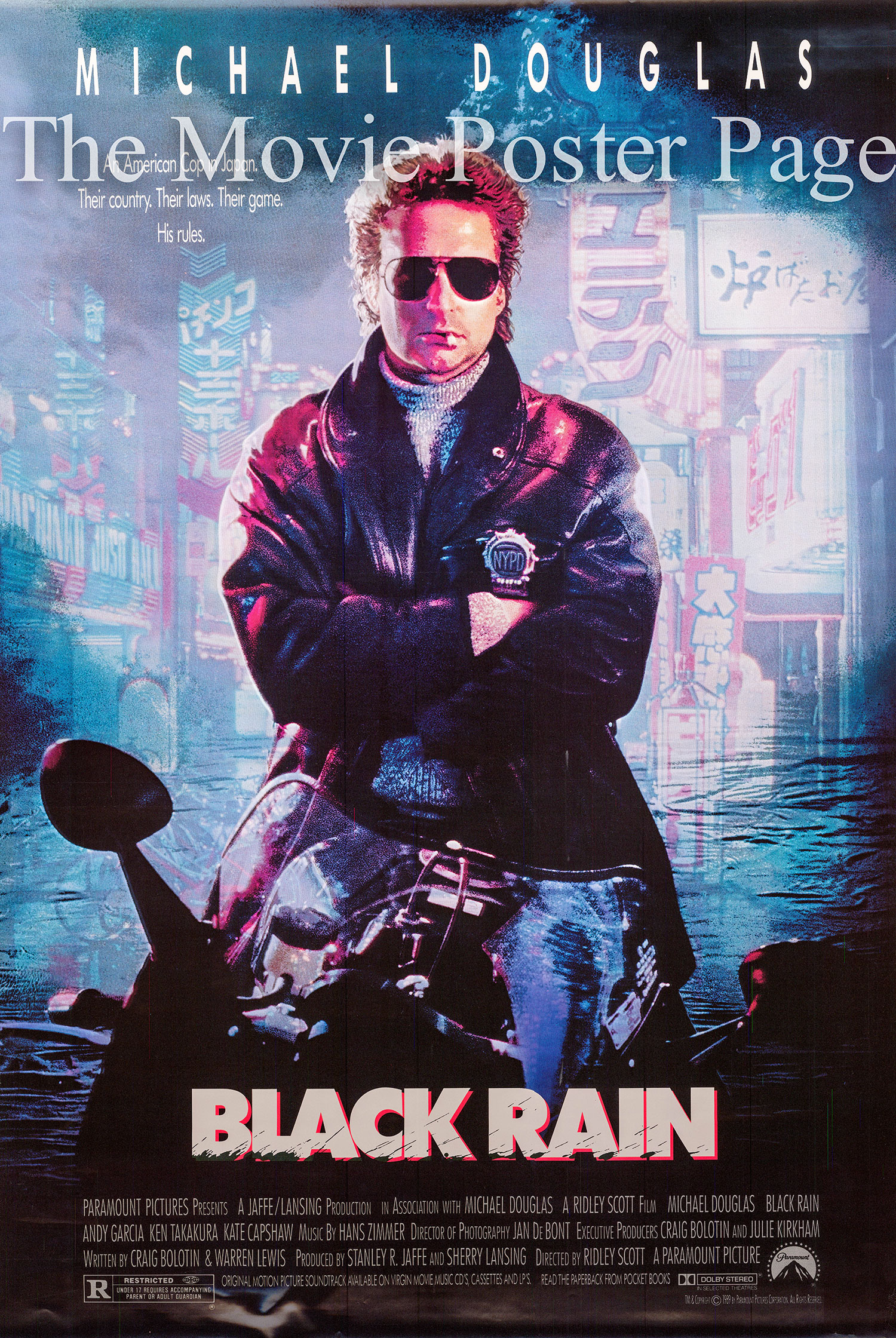 Pictured is a US promotional film poster for the 1989 Ridley Scott film Black Rain starring Michael Douglas.