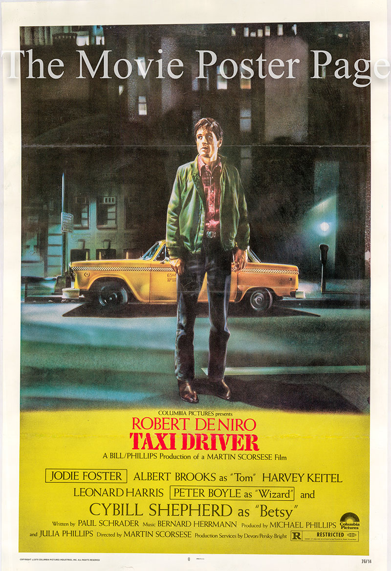 Pictured is the US one-sheet promotional poster for the 1976 Martin Scorsese film Taxi Driver starring Robert De Niro.
