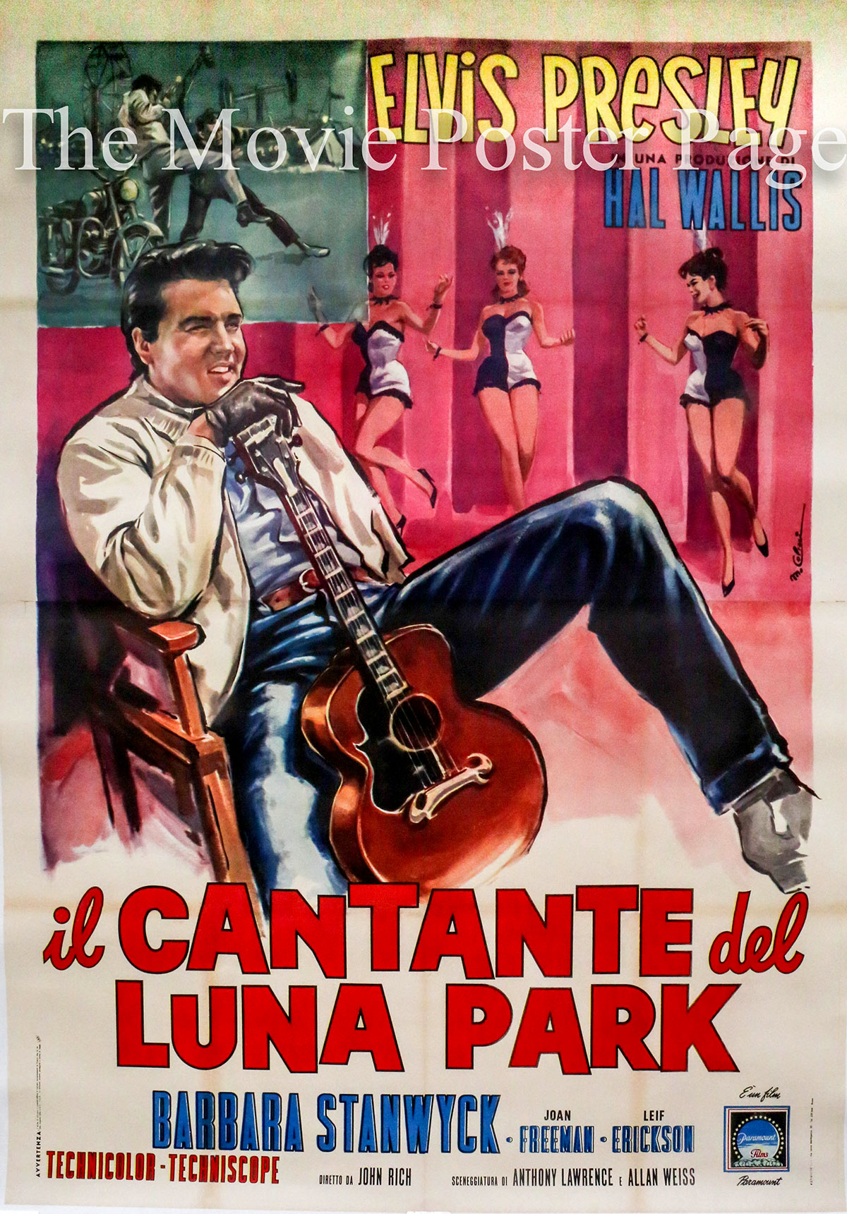 This is an image of the 4-sheet Italian promotional poster for the 1964 John Rich film Roustabout starring Elvis Presley and Barbara Stanwyck.
