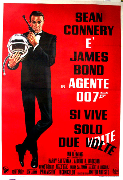 Pictured is an Italian 4-sheet promotional poster for the 1967 Lewis Gilbert film You Only Live Twice starring Sean Connery.