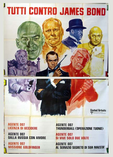 Pictured is an Italian four-sheet James Bond 'villains' poster.