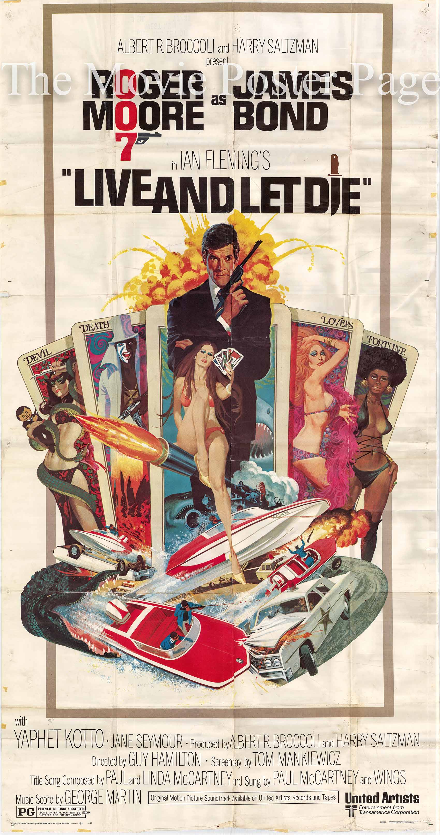 Pictured is a US three-sheet promotional poster for the 1973 Guy Hamilton film Live and Let Die starring Roger Moore as James Bond.