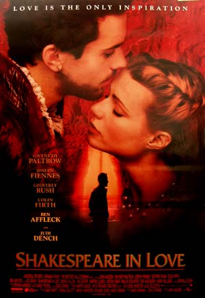 Pictured is the US promotional one-sheet poster for the 1998 John Madden film Shakespeare in Love starring Joseph Feinnes and Gwyneth Paltrow.