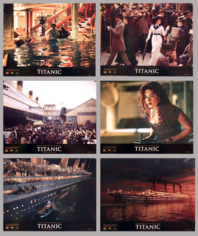 Pictured is the promotional lobby card set for the 1997 James Cameron film Titanic starring Leonardo DiCaprio and Kate Winslet.