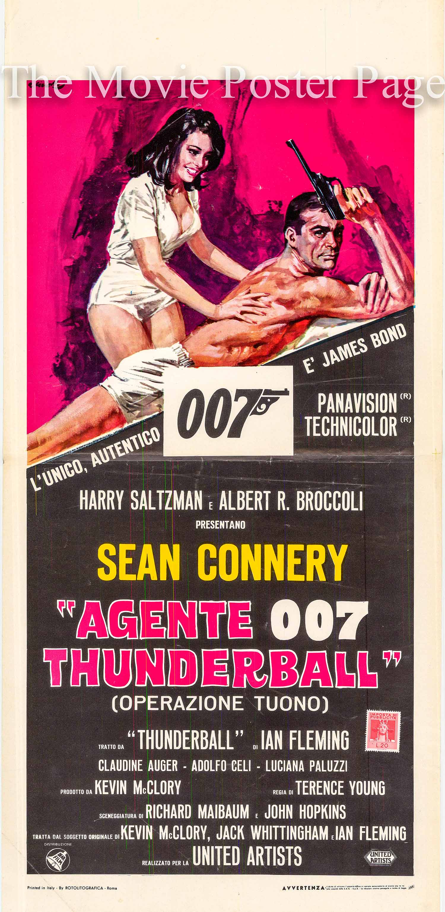 Pictured is the Italian locandina promotional movie poster for the 1965 Terence Young James Bond film Thunderball, starring Sean Connery.