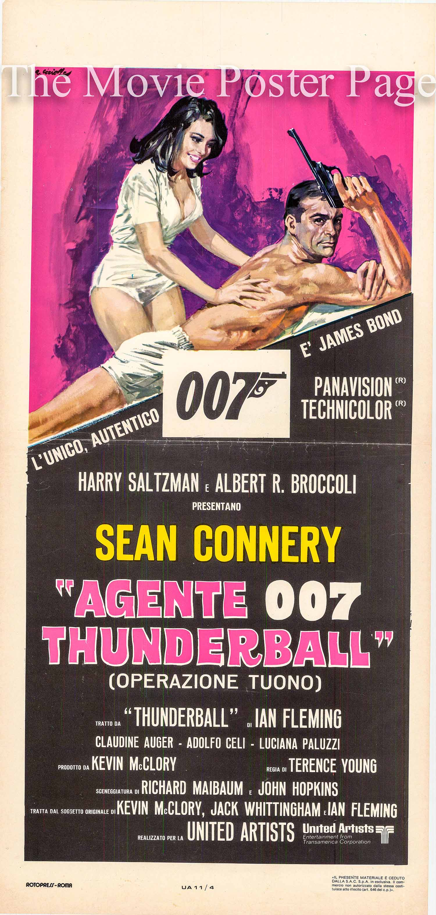 Pictured is the Italian locandina 1977 rerelease promotional movie poster for the 1965 Terence Young James Bond film Thunderball, starring Sean Connery.