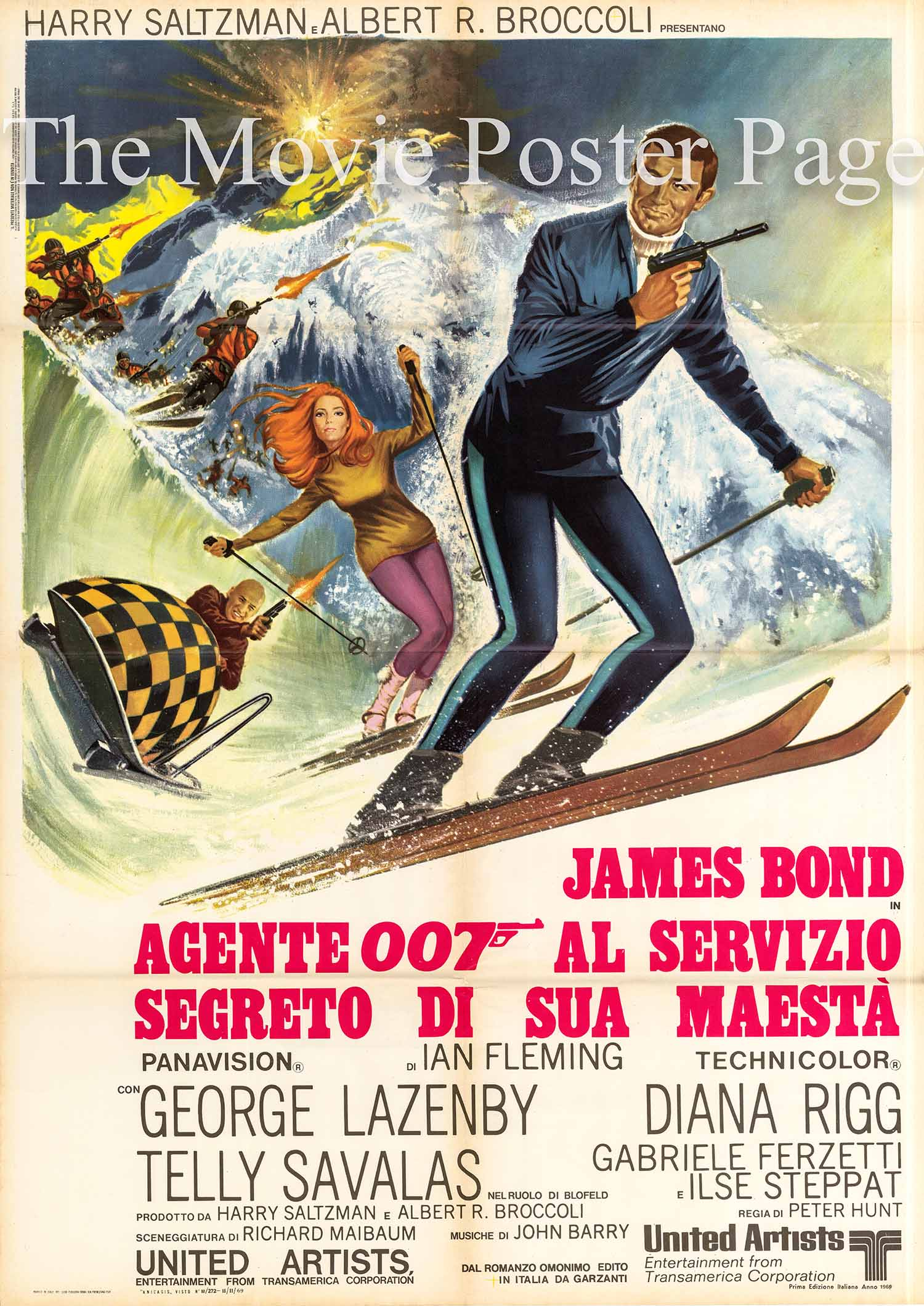 Pictured is the Italian two-sheet promotional poster for the 1969 Peter R. Hunt film On Her Majestys Secret Service, starring George Lazenby.