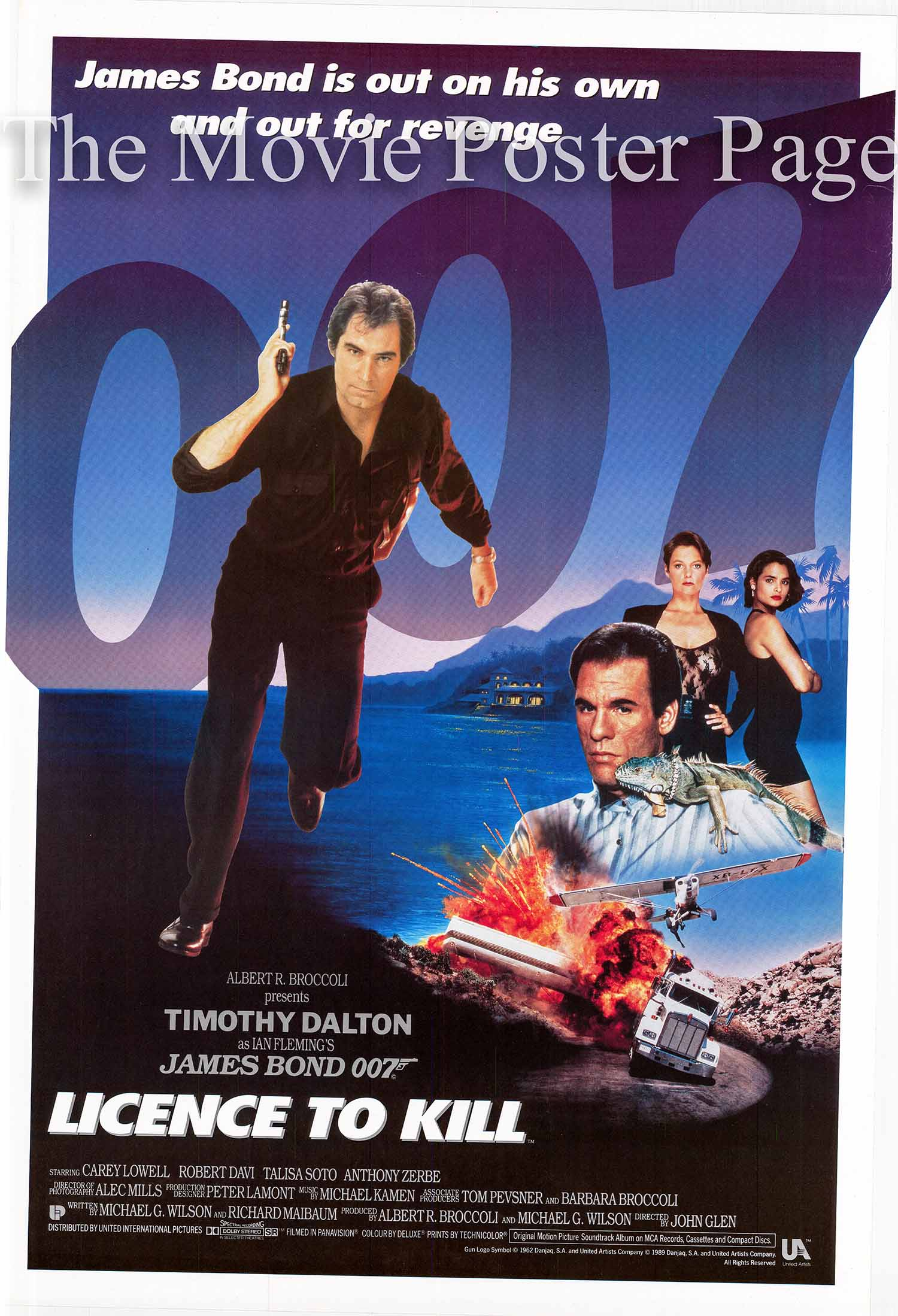 Pictured is the UK one-sheet promotional poster for the 1989 John Glen James Bond film License to Kill, starring Timothy Dalton.