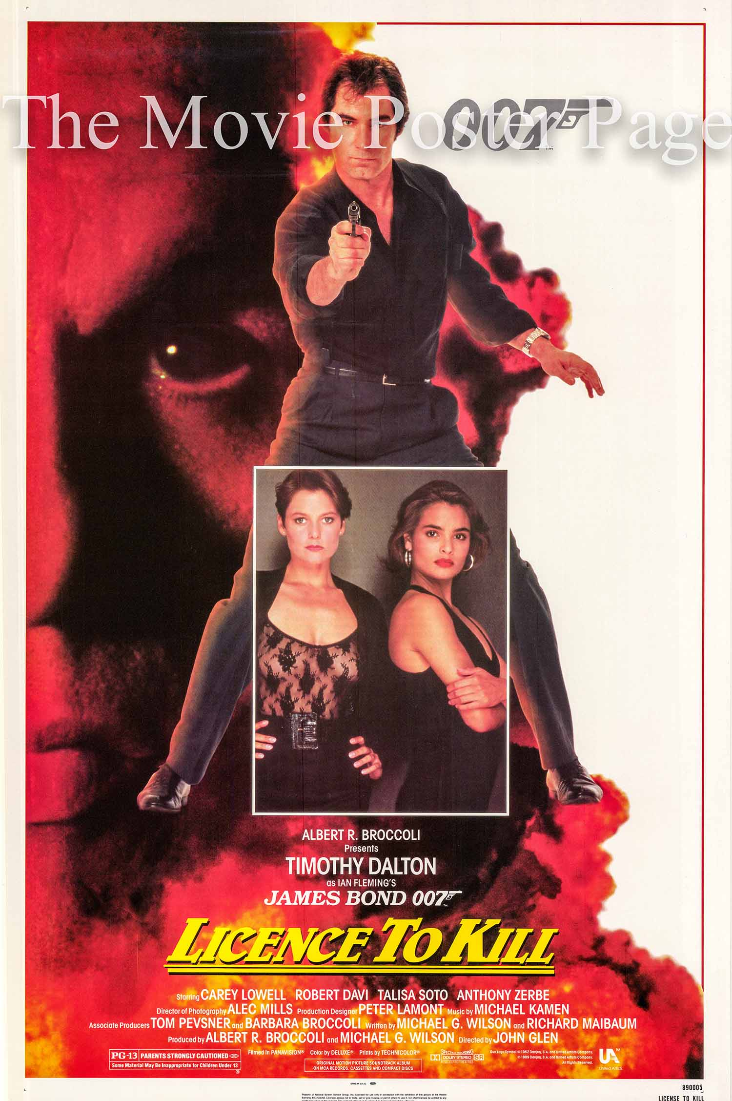 Pictured is the US one-sheet promotional poster for the 1989 John Glen James Bond film License to Kill, starring Timothy Dalton.