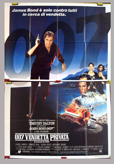 Pictured is the Italian 4-sheet promotional poster for the 1989 John Glen James Bond film License to Kill, starring Timothy Dalton.