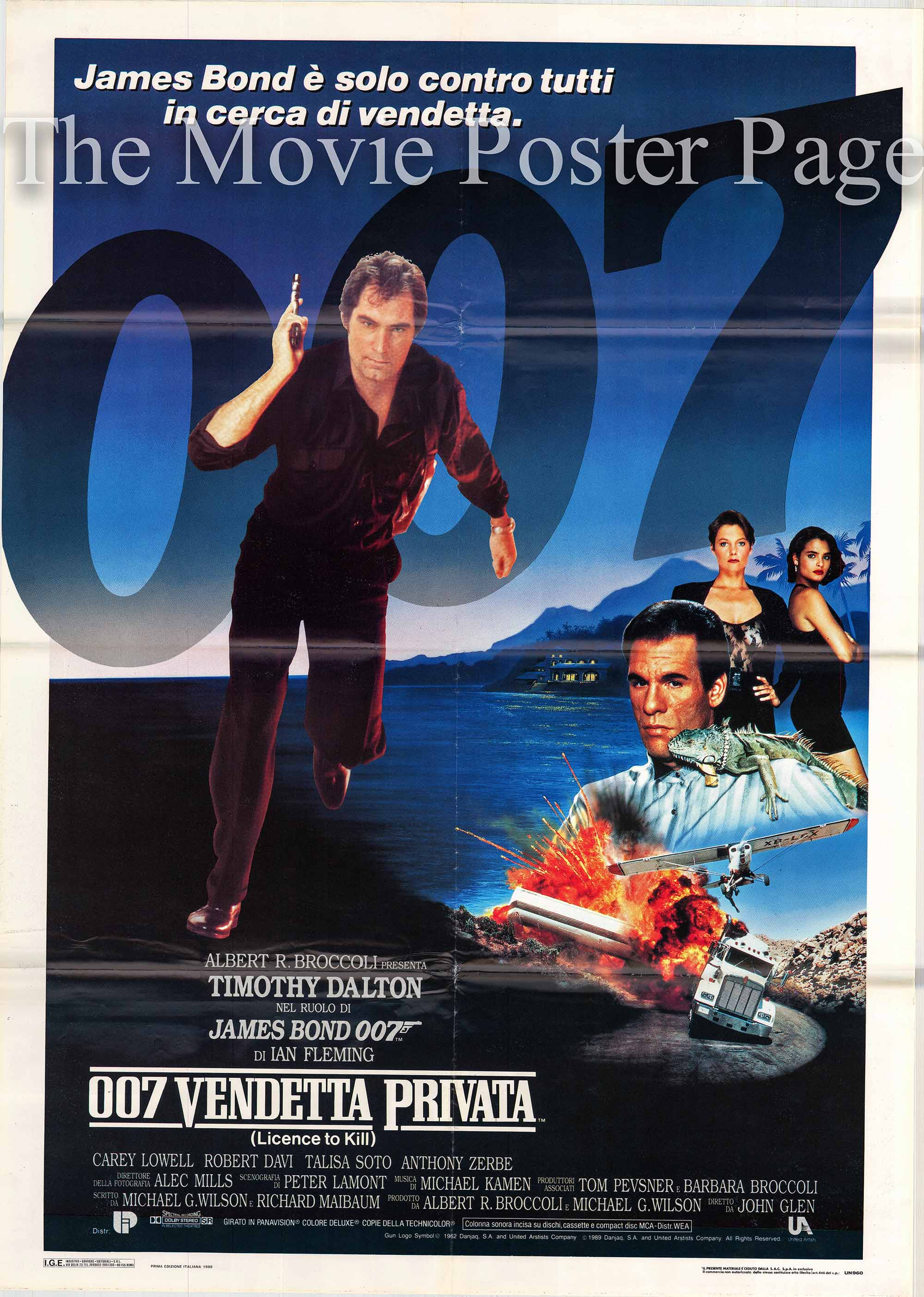 Pictured is the Italian 2-sheet promotional poster for the 1989 John Glen James Bond film License to Kill, starring Timothy Dalton.