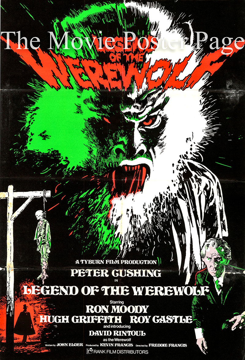 Pictured is the UK promotional poster for the 1975 Freddie Francis film Legend of the Werewolf starring Peter Cushing.