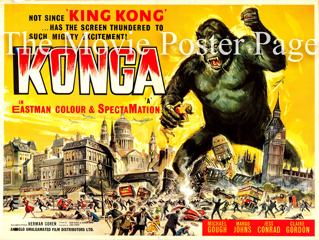 Pictured is the UK quad promotional poster for the 1961 John Lemont film Konga starring Michael Gough.
