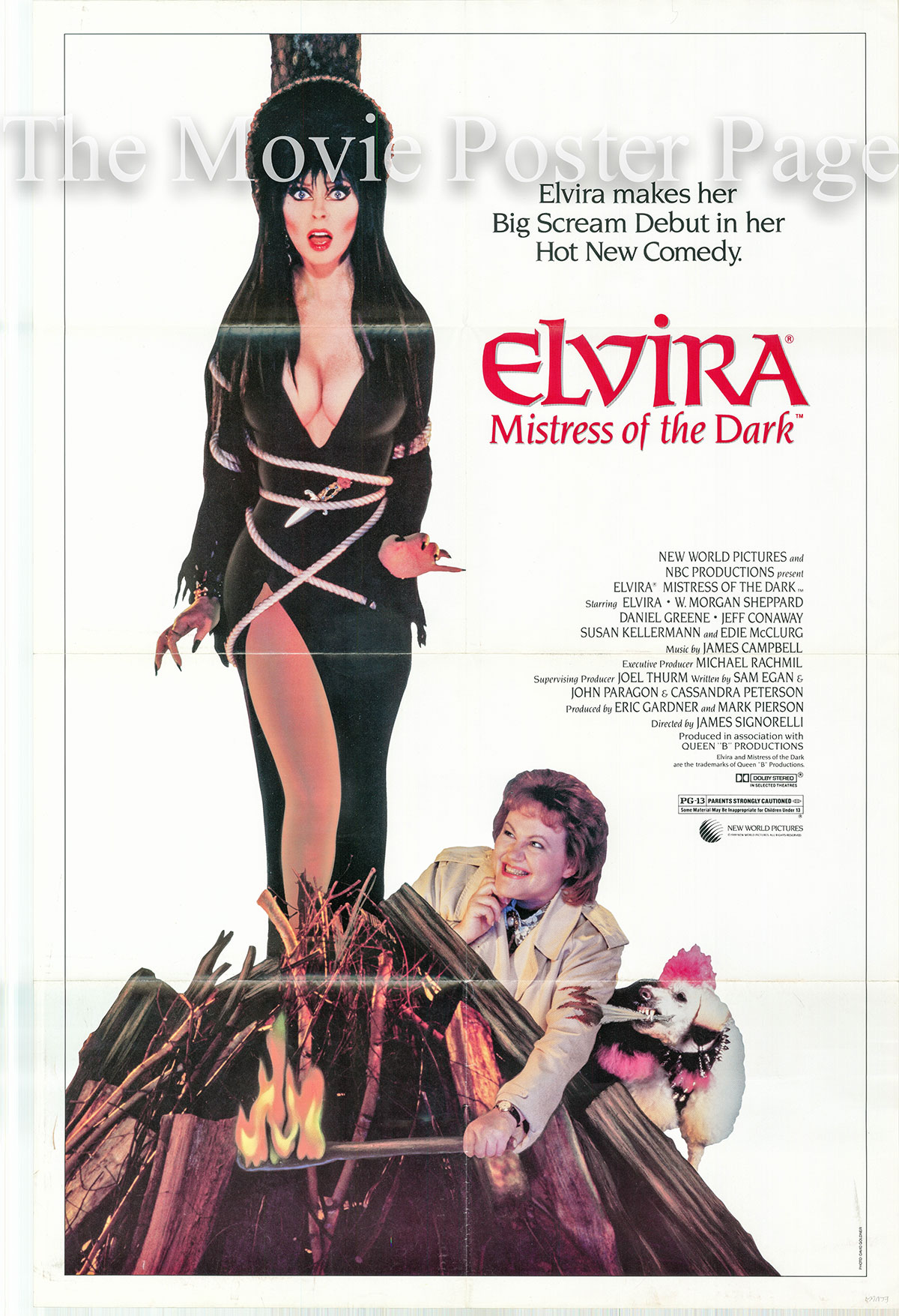 Pictured is the US one-sheet promotional poster for the 1988 James Signorelli film Elvira Mistress of the Dark starring Cassandra Peterson.