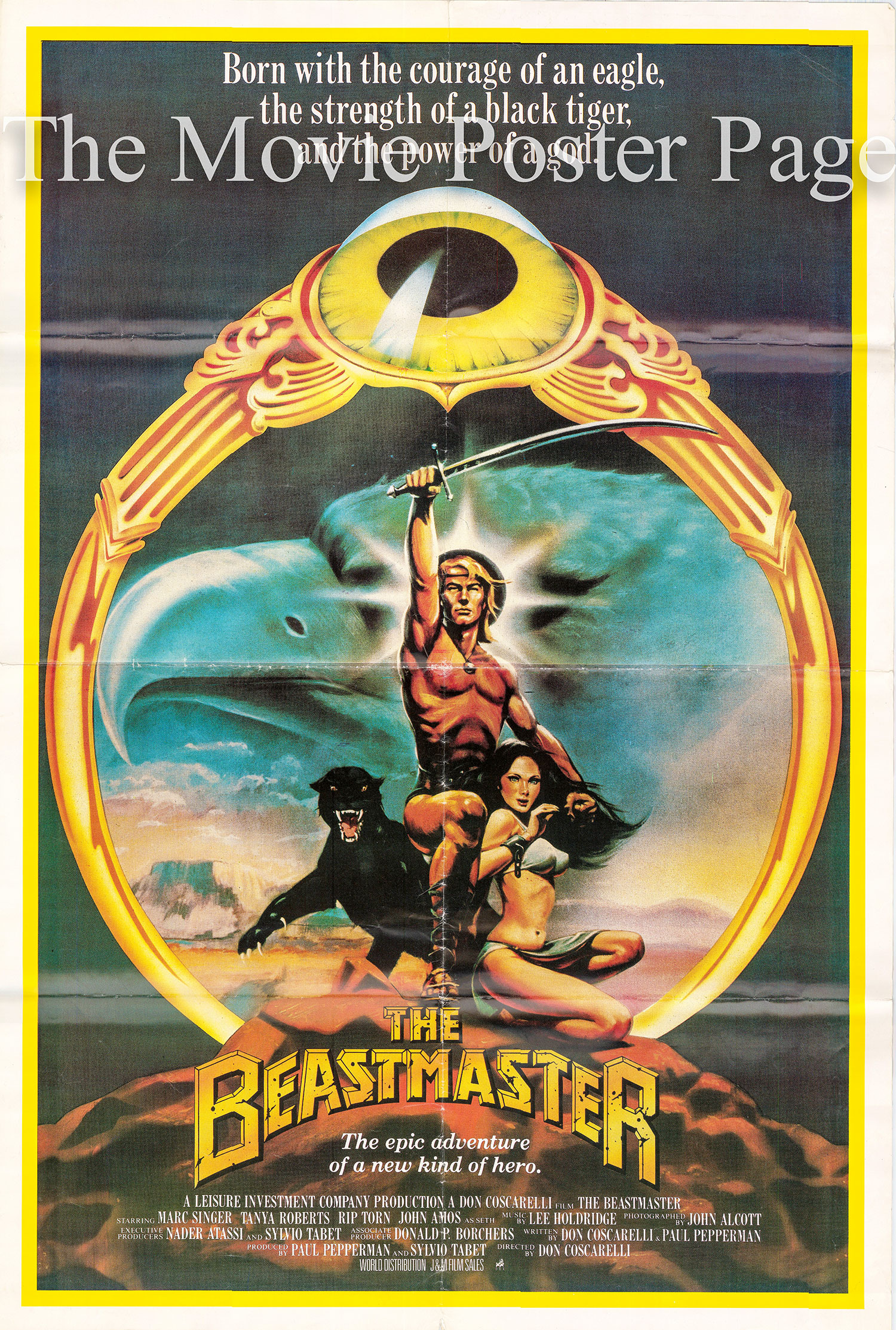 Pictured is the US one-sheet promotional poster for the 1982 Don Coscarelli film Beastmaster starring Marc Singer and Tanya Robers.