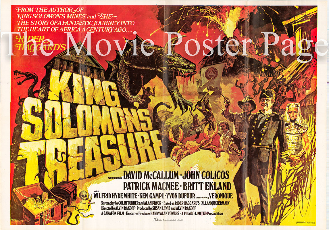 Pictured is a Lebanese promotional poster for the 1979 Alvin Rakoff film King Solomons Treasure based on the book by H. Rider Haggard, starring David McCallum.