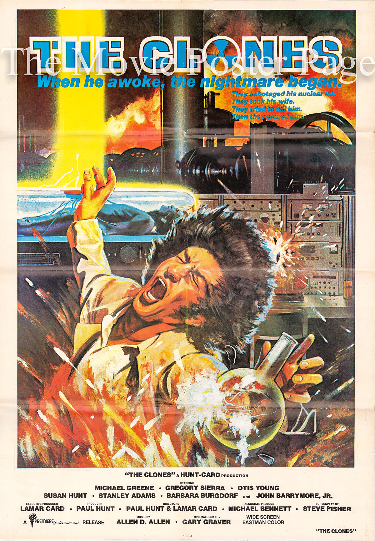 Pictured is a Premier International video poster for a 1985 rerelease of the 1973 Lamar Card and Paul Hunt film The Clones, starring Michael Greene.