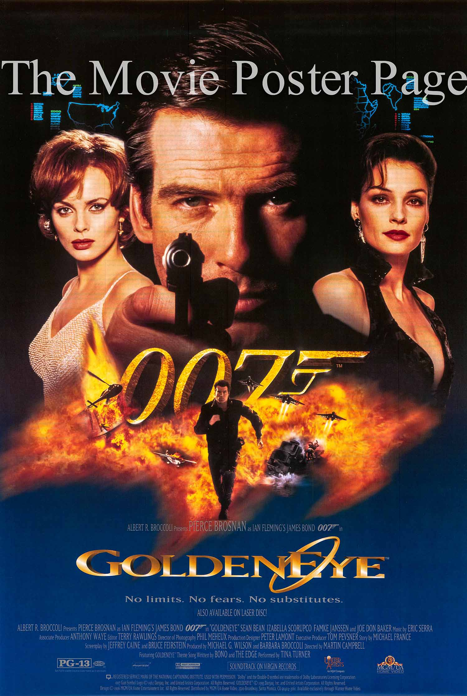 Pictured is the US video poster for the 1995 Martin Campbell film Goldeneye, starring Pierce Brosnan.