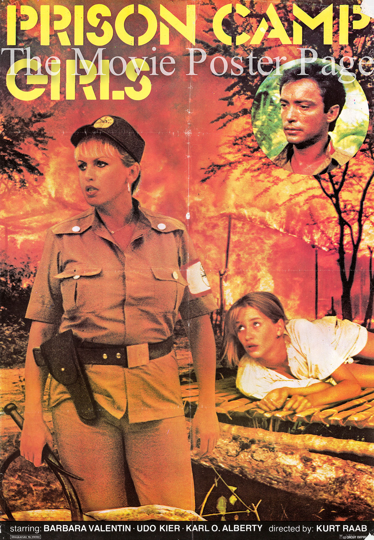 The picture shows an Italian promotional poster for the 1983 Kurt Raab film Prison Camp Girls, starring Udo Kier as Hermano.
