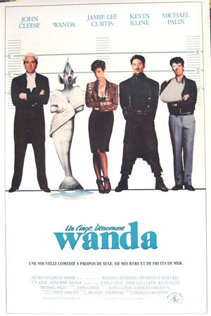 Pictured is the French promotional one-sheet poster for the 1988 Charles Crichton film A Fish Called Wanda, starring John Cleese and Jamie Lee Curtis.