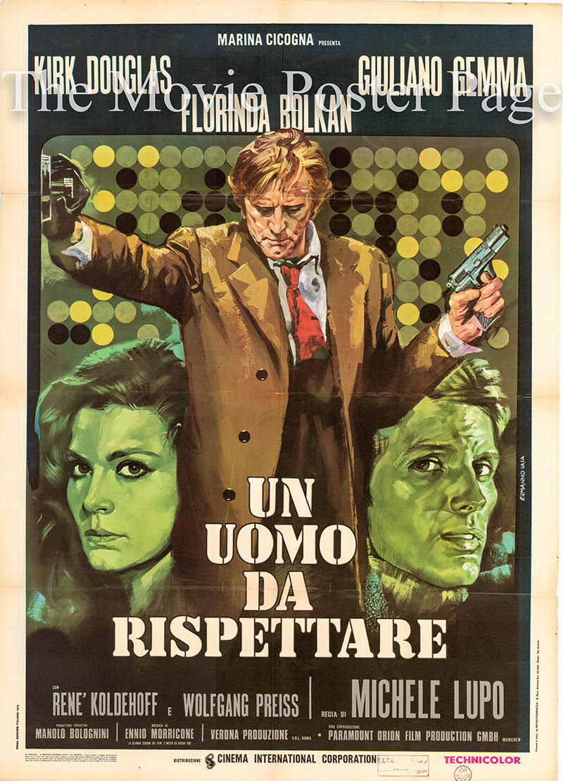The image shows the Italian two-sheet promotional poster for the 1972 Michele Lupo film The Master Touch, starring Kirk Douglas.